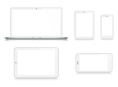 Laptop, Tablet, Smartphone, Mobile Phone in Silver Color clipart