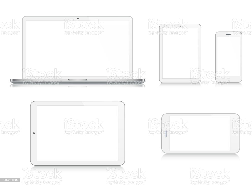 Laptop, Tablet, Smartphone, Mobile Phone in Silver Color vector art illustration