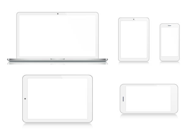 ilustrações de stock, clip art, desenhos animados e ícones de laptop, tablet, smartphone, mobile phone in silver color - white background