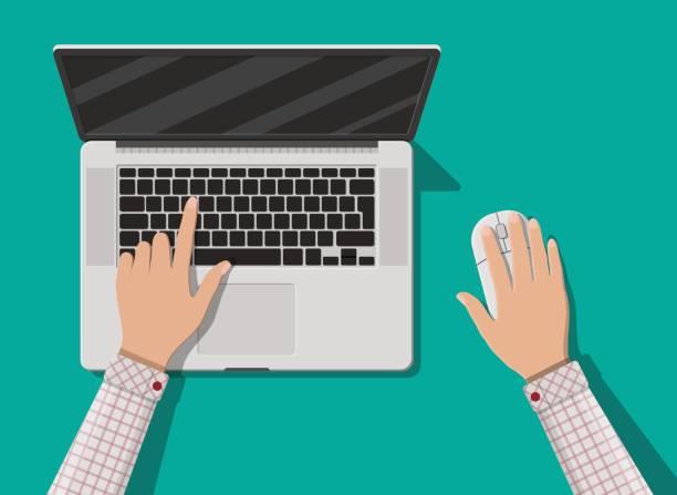 laptop-draufsicht. maus. notebook - mauspad stock-grafiken, -clipart, -cartoons und -symbole