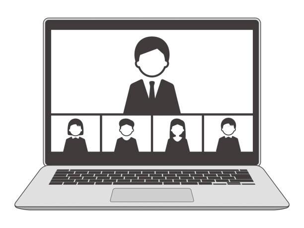 stockillustraties, clipart, cartoons en iconen met laptop web meeting met 5 personen, monochroom - wat