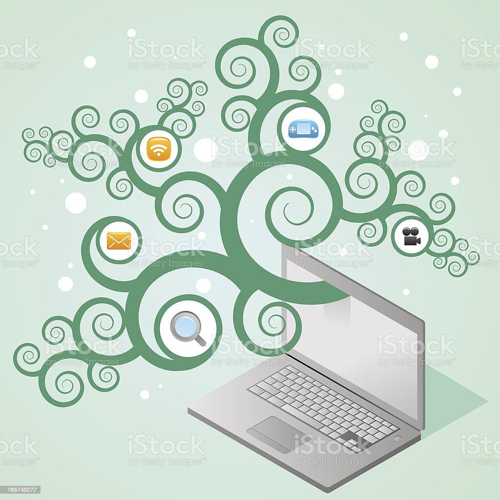 Laptopbaum Mit Ikonen Vektor Illustration 165740277   iStock