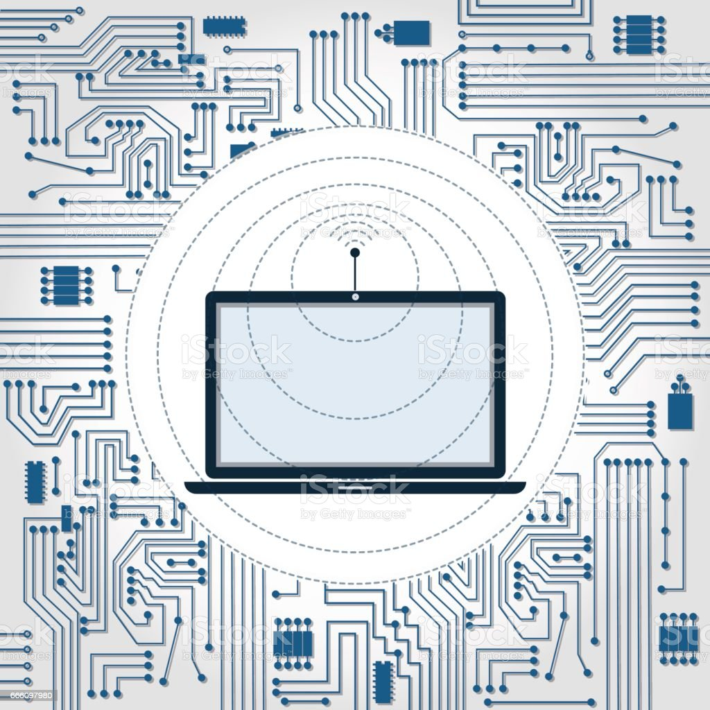 Laptop Wireless Circuit Wiring Diagram And Ebooks Wi Fi Wave Electronics Stock Vector Art More Rh Istockphoto Com Charger Notebook
