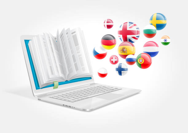 A laptop with a book for learning foreign languages. The e-learning system. – artystyczna grafika wektorowa