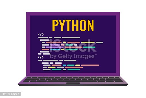 istock laptop with a code computer language python. 1218905862