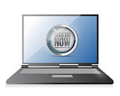 laptop with a download button illustration design over white