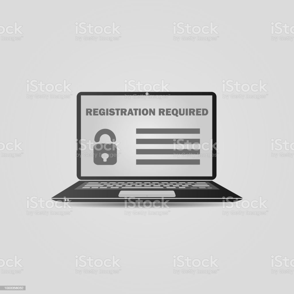 Laptop With A Form Template Registration Screen Realistic Open ...