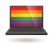laptop with a gay pride flag