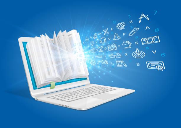 A laptop with a general knowledge book. An e-learning system. – artystyczna grafika wektorowa