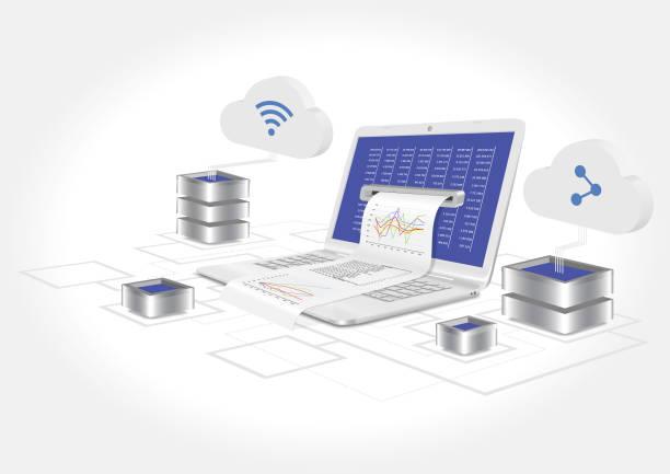 A laptop with a graph and statistics analysis. 3d vector illustration. – artystyczna grafika wektorowa