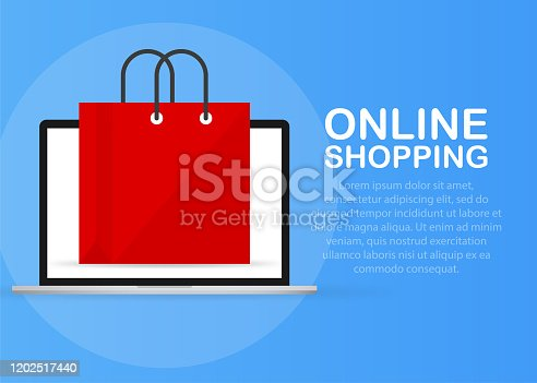 Laptop with and screen buy. Concept online shopping