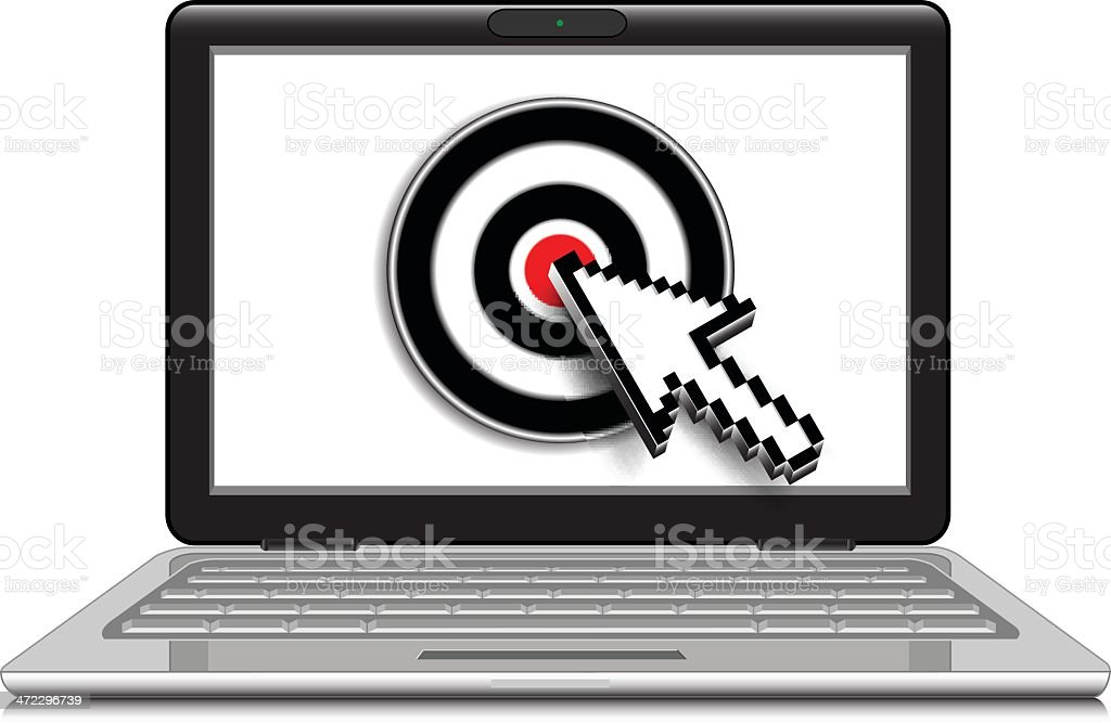 Laptop with Arrow Cursor on Target royalty-free stock vector art