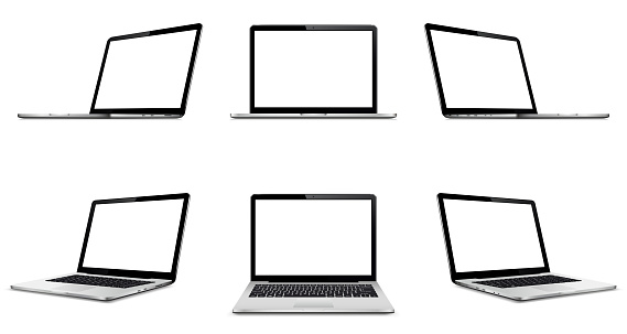 Laptop with blank empty screen on white background. Perspective, and front laptop view with blank screen.