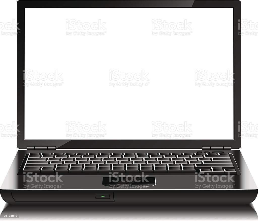 Laptop with blank screen royalty-free laptop with blank screen stock vector art & more images of black color