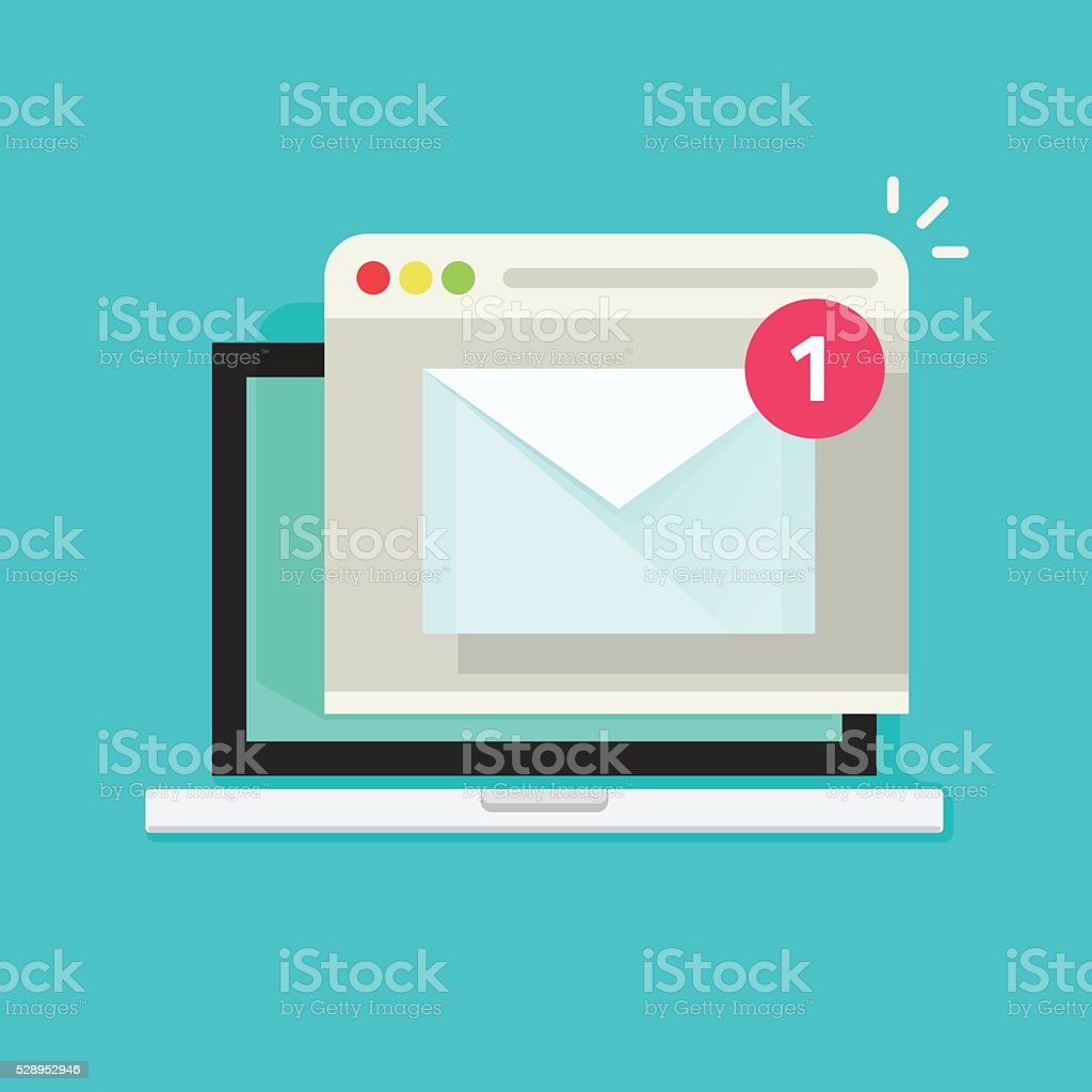 Laptop with browser and envelope illustration, symbol of email receiving vector art illustration