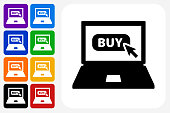 Laptop with Buy Sign Icon Square Button Set. The icon is in black on a white square with rounded corners. The are eight alternative button options on the left in purple, blue, navy, green, orange, yellow, black and red colors. The icon is in white against these vibrant backgrounds. The illustration is flat and will work well both online and in print.