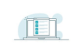 Laptop with checklist. Workspace with laptop and browser with checkboxes. Vector illustration in line art style
