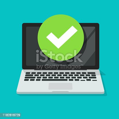Laptop with checkmark or tick notification vector illustration, flat cartoon of computer pc with approved choice, idea of task done, updated or download complete, accept or approve checkmark cut out