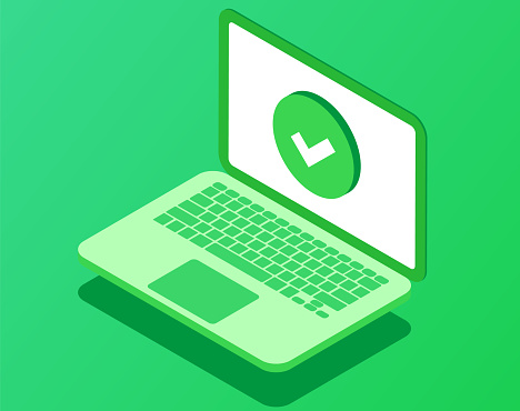 Laptop with checkmark or tick notification. Vector illustration of computer with approved sign. Update or download complete.