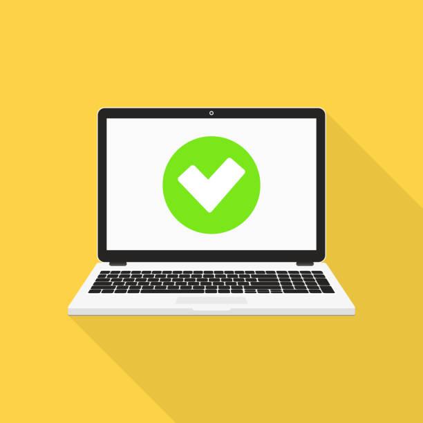 Laptop mit Checkmark-Vektor-Illustration, flaches Design – Vektorgrafik