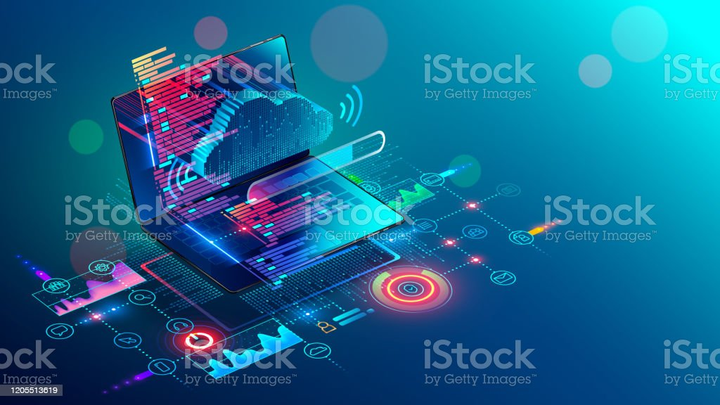 Laptop with code on screen hanging over icons programming app, software development, web coding. Isometric conceptual illustration about collaboration work via internet or cloud storage. Remote work. Laptop with code on screen hanging over icons programming app, software development, web coding. Isometric conceptual illustration about collaboration work via internet or cloud storage. Remote work. Application Programming Interface stock vector