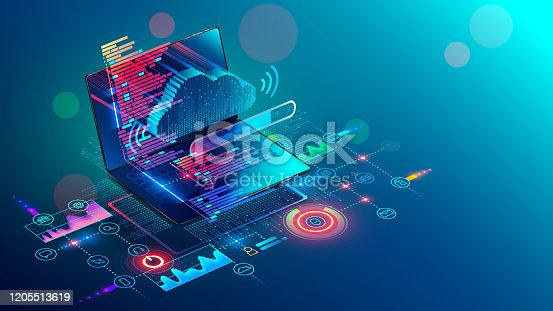 istock Laptop with code on screen hanging over icons programming app, software development, web coding. Isometric conceptual illustration about collaboration work via internet or cloud storage. Remote work. 1205513619