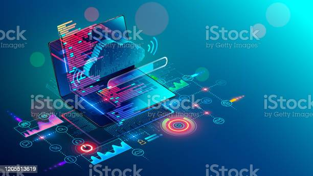 Laptop With Code On Screen Hanging Over Icons Programming App Software Development Web Coding Isometric Conceptual Illustration About Collaboration Work Via Internet Or Cloud Storage Remote Work Stock Illustration - Download Image Now