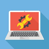 Laptop with cog, wrench repair icon. Repair service, maintenance, restore