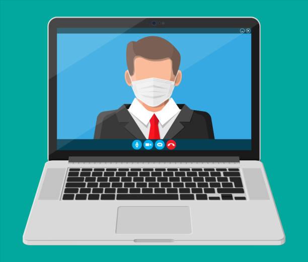 Laptop mit Konferenz. Öffentlicher Sprecher Geschäftsmann – Vektorgrafik