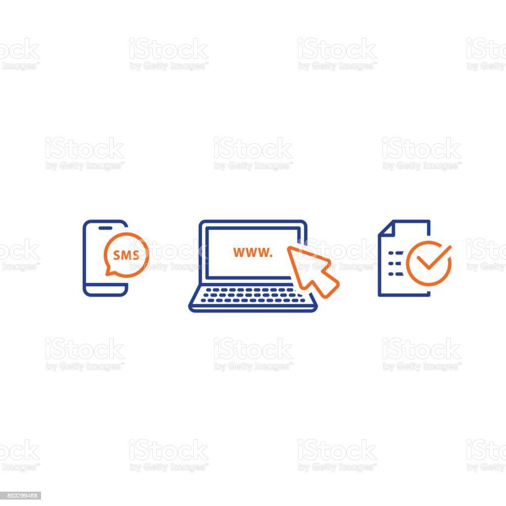 Laptop com cursor, enviar mensagem de telefone, receber sms notificação, apresentar documento, ícones de linha - ilustração de arte em vetor