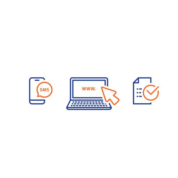 Laptop with cursor, send phone message, receive sms notification, submit document, line icons vector art illustration