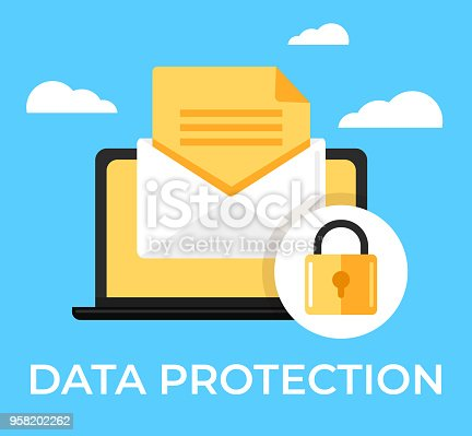 istock Laptop with envelop web online email confidentiality database text under protection red shield lock. Data confidential access protection secure privacy information access icon concept. Vector flat cartoon isolated graphic design illustration 958202262