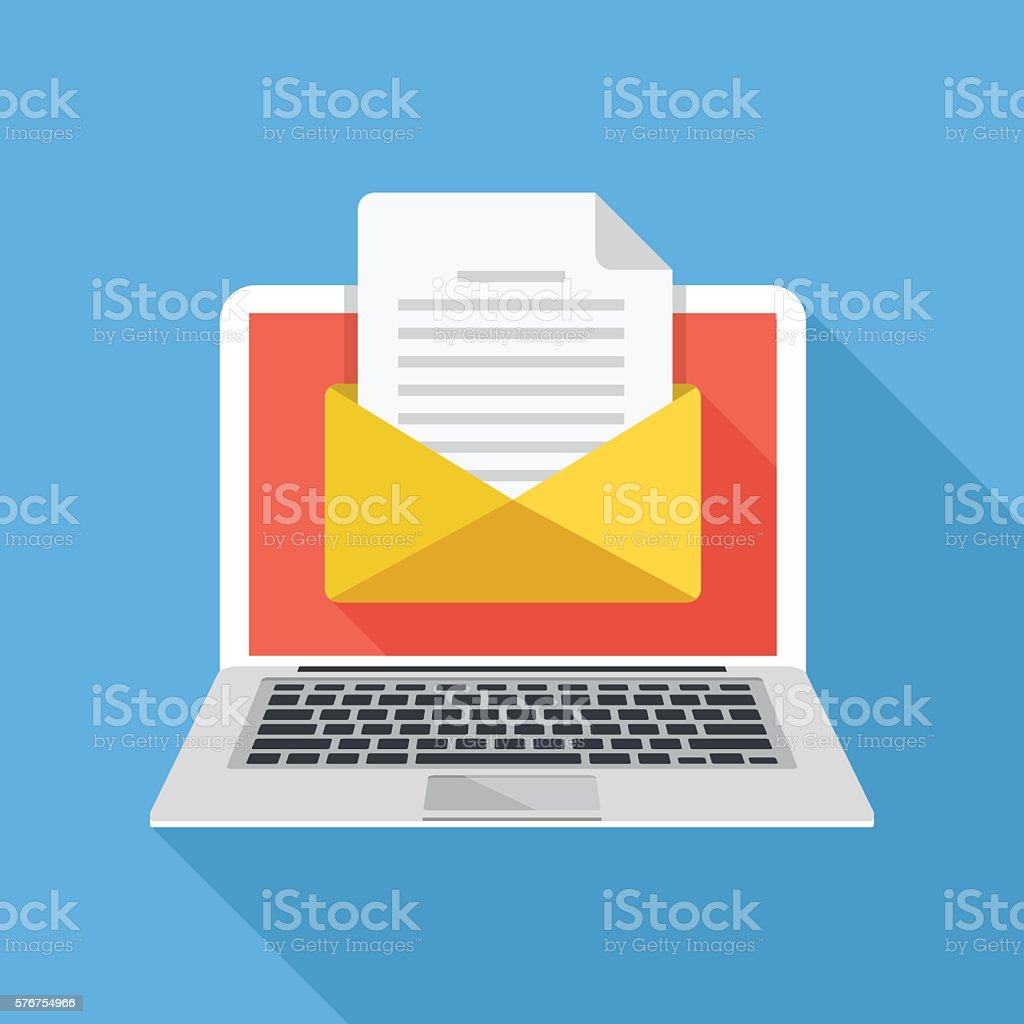 Laptop with envelope and document on screen. E-mail. Flat illustration vector art illustration