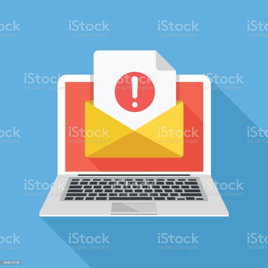 Laptop with envelope and document with exclamation mark on screen. Receive notification, alert message, warning, get e-mail, email, spam concepts. Flat design vector illustration vector art illustration