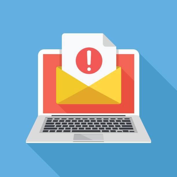stockillustraties, clipart, cartoons en iconen met laptop met envelop en document met uitroepteken op scherm. ontvangen kennisgeving, waarschuwing, waarschuwing, krijgen e-mail, e-mail, concepten van spam. platte ontwerp vectorillustratie - achterdocht