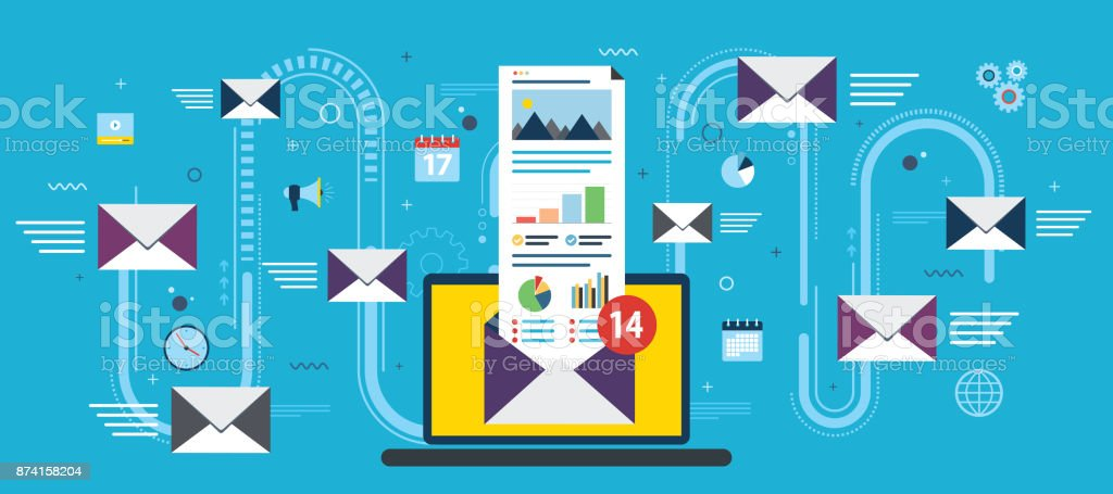 Laptop with envelope and open email on screen. royalty-free laptop with envelope and open email on screen stock illustration - download image now