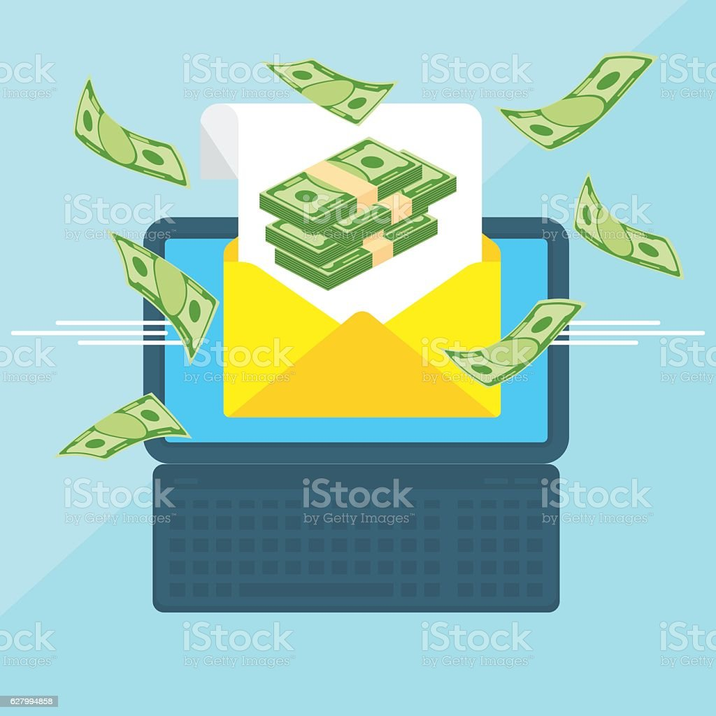 laptop with envelope bills vector art illustration