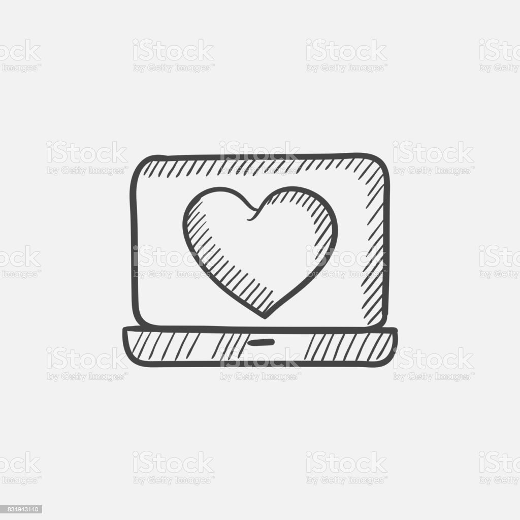 Laptop with heart symbol on screen sketch icon stock vector art cable computer computer monitor equipment heart shape laptop with heart symbol on buycottarizona Choice Image