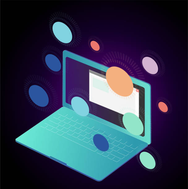 Laptop with Icons vector art illustration