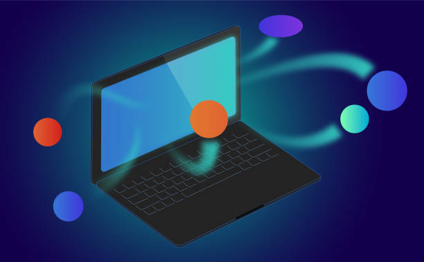 Laptop with Logos vector art illustration
