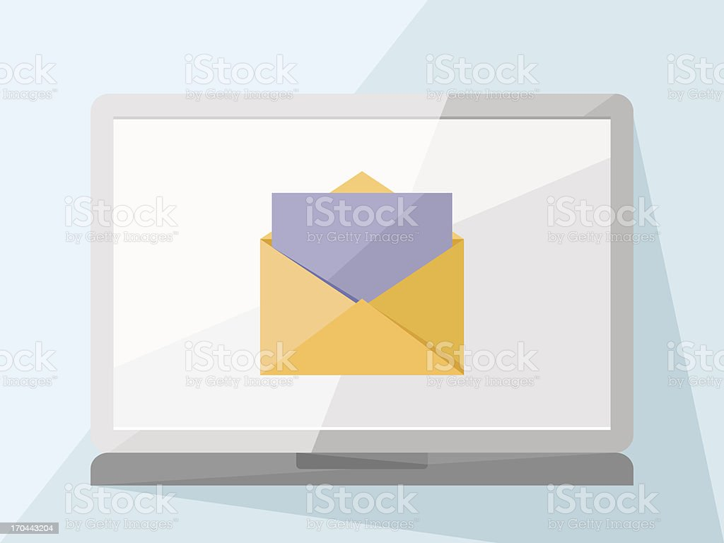 Laptop with mail royalty-free laptop with mail stock vector art & more images of blank