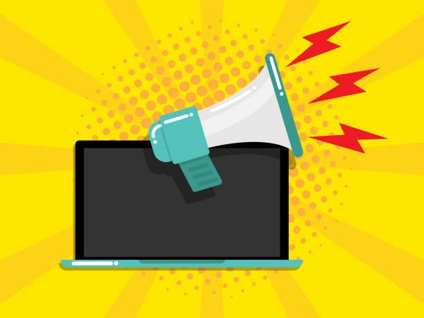 laptop with megaphone online marketing concept vector art illustration