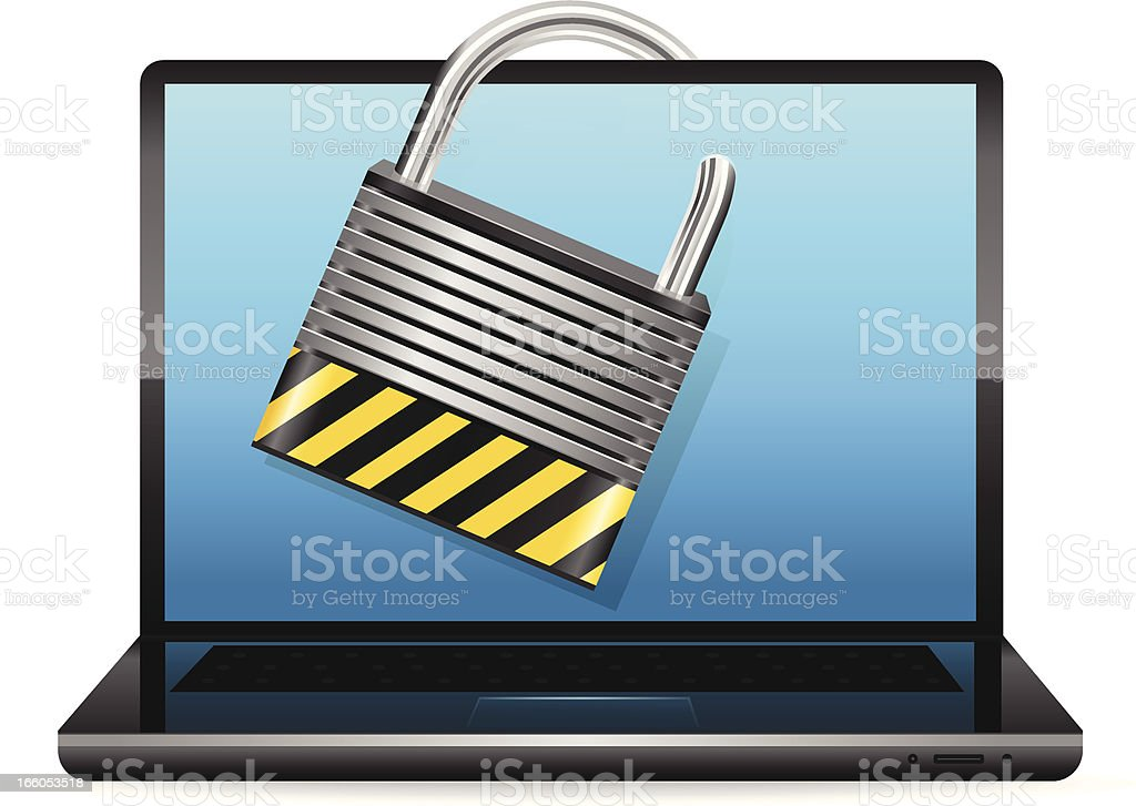 Laptop with Padlock royalty-free laptop with padlock stock vector art & more images of blue