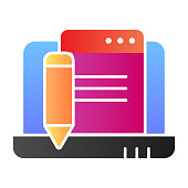 Laptop with pencil flat icon. Digital electronic signature color icons in trendy flat style. Compuer document and pencil gradient style design, designed for web and app. Eps 10
