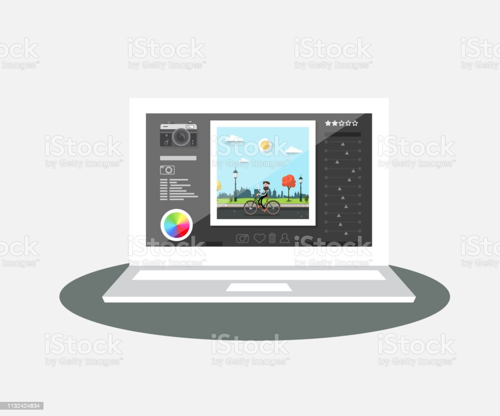 Laptop with Photo Editing Program on Screen. Vector Notebook Graphic...