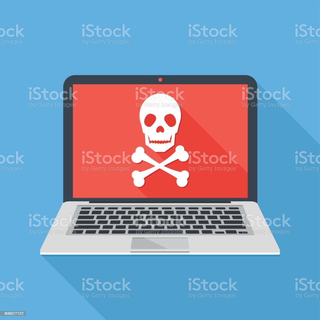 Laptop with skull and crossbones. Modern notebook and skull icon. Virus attack, ransomware, malicious software, hacker attack concepts. Long shadow design. Modern flat design vector illustration vector art illustration