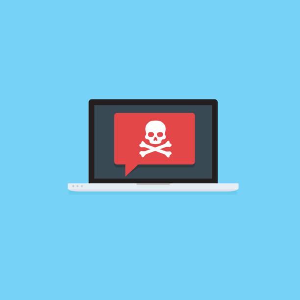 Laptop with skull and crossbones notification. virus attack, ransomware, malicious software, hacker attack, black Mail Illustration Flat laptop with skull and crossbones notification computer virus stock illustrations