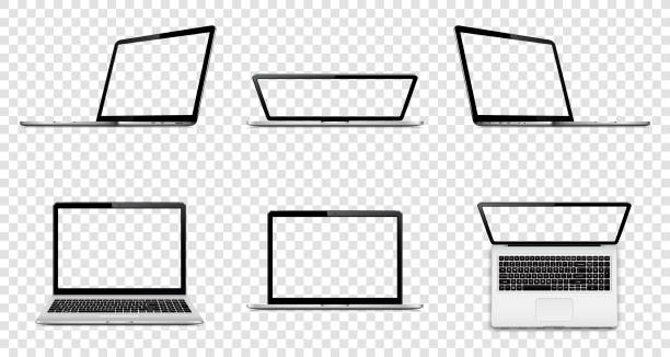 Laptop with transparent screen isolated on transparent background. Perspective, top and front view with blank screen. Laptop with transparent screen isolated on transparent background. Perspective, top and front view with blank screen. tandvård stock illustrations