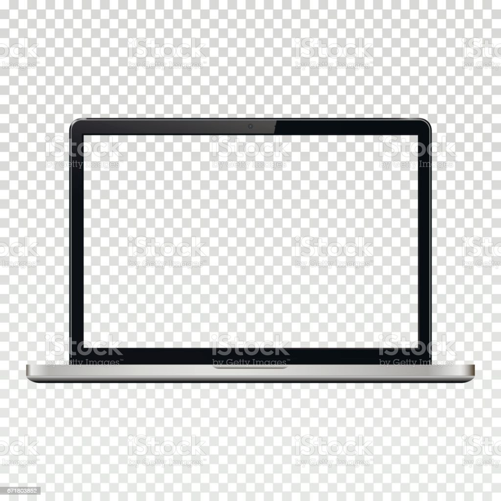 Laptop with transparent screen isolated on transparent background vector art illustration