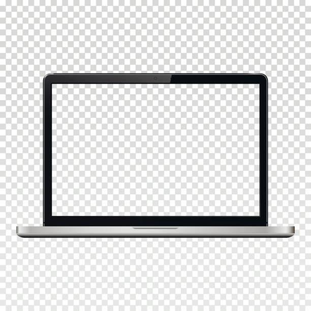 Laptop mit transparenten Leinwand auf transparenten Hintergrund isoliert – Vektorgrafik